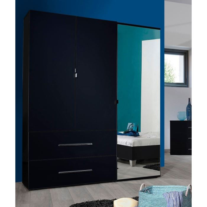 armoire pas cher first 3 portes avec miroire et tiroires marseille entrepot de la literie. Black Bedroom Furniture Sets. Home Design Ideas